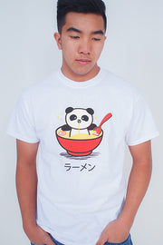 Panda Ramen Bowl T-Shirt - Red bowl