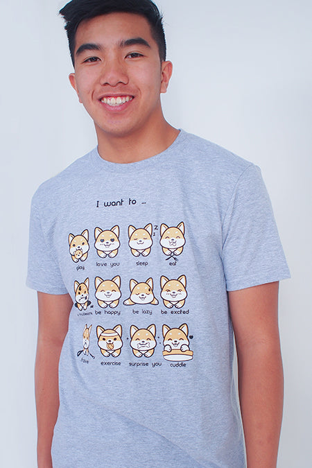I want to... Shiba Inu Emoticon T-Shirt