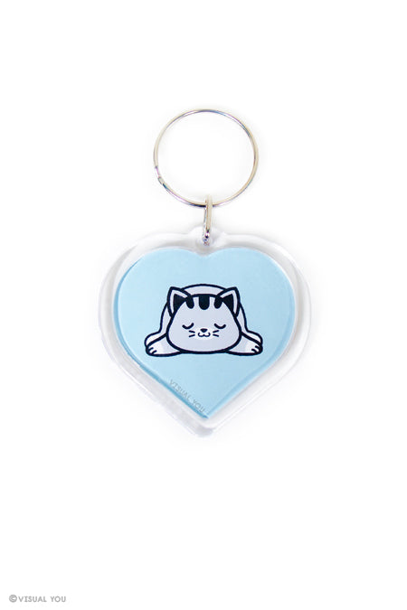 Snoozing Grey Tabby Cat Heart Keychain