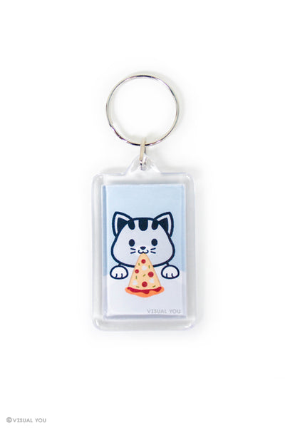 Grey Tabby Cat Pizza Keychain