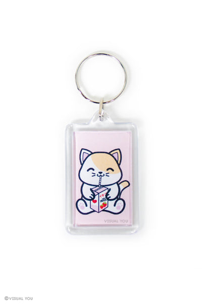 Strawberry Milk Box Kitty Keychain