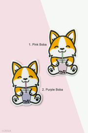Bubble Tea Boba Corgi Vinyl Sticker
