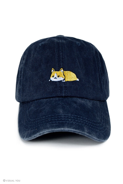 Relaxing Corgi Dad Cap - Wash Style