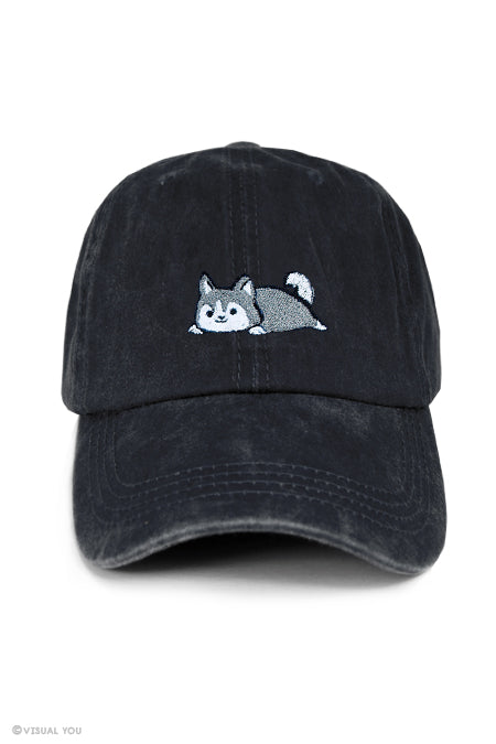 Relaxing Husky Dad Cap - Wash Style