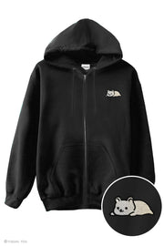 Relaxing Bear Embroidered Zip-Up Hoodie - Grizzly Bear, Panda Bear, Ice Bear
