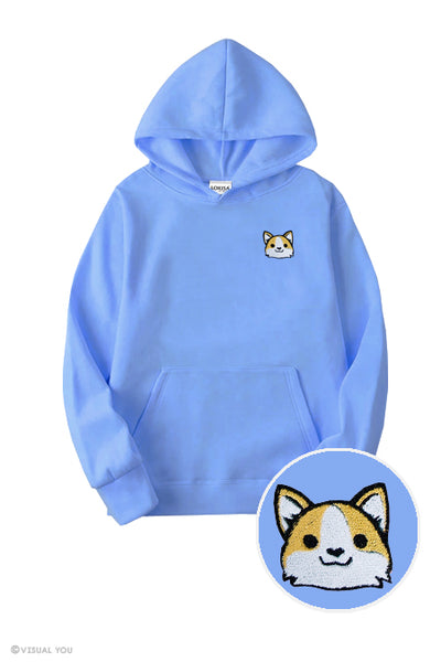 Cute Corgi Head Embroidered Hoodie (Kids)