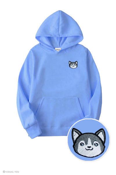 Cute Husky Head Embroidered Hoodie (Kids)