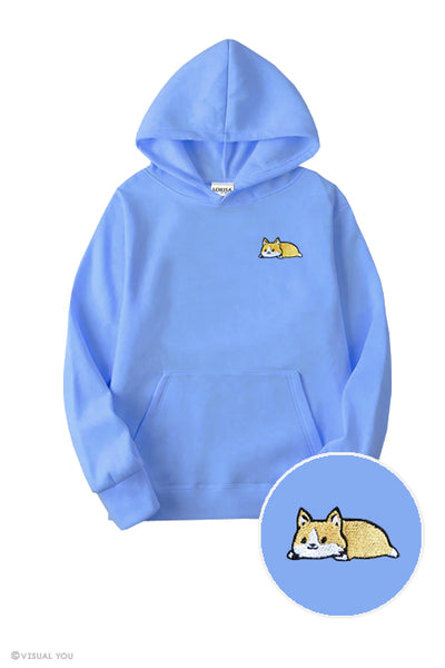 Relaxing Corgi Embroidered Hoodie (Kids)