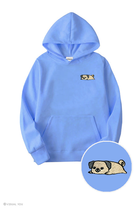 Relaxing Pug Embroidered Hoodie (Kids)