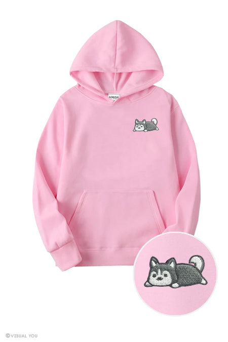 Relaxing Husky Embroidered Hoodie (Kids)