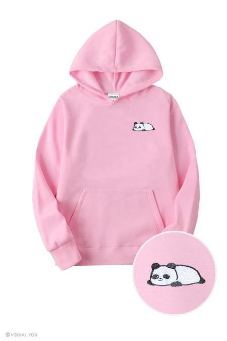 Relaxing Panda Embroidered Hoodie (Kids)