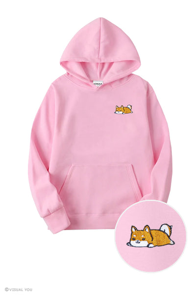 Relaxing Shiba Embroidered Hoodie (Kids)