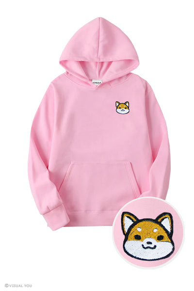Cute Shiba Inu Head Embroidered Hoodie (Kids)
