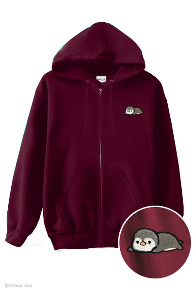Relaxing Animal Embroidered Zip-Up Hoodie - Sloth, Penguin, Kitty, Otter (and more)