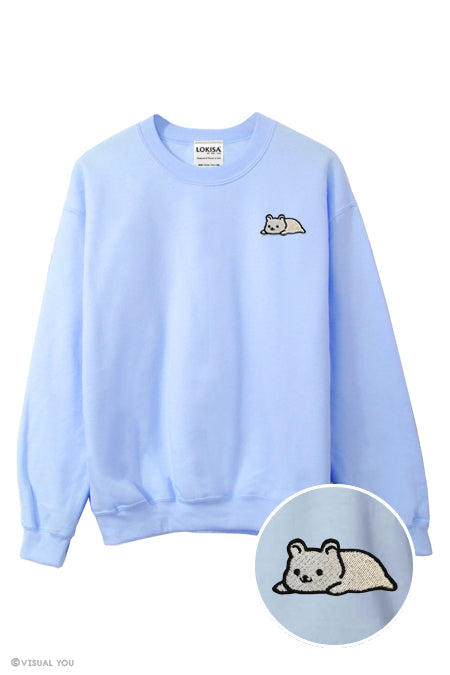 Relaxing Ice Bear Embroidered Sweatshirt