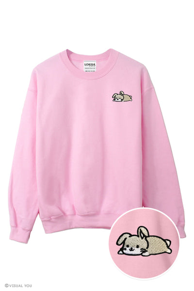 Relaxing Bunny Rabbit Embroidered Sweatshirt