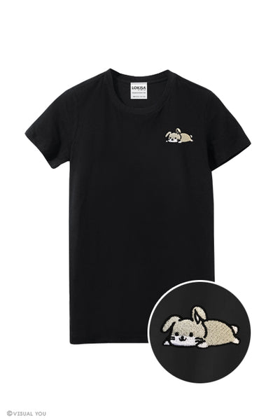 Relaxing Bunny Rabbit Embroidered T-Shirt