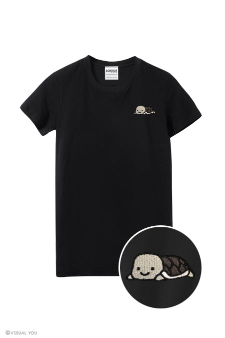 Relaxing Turtle Embroidered T-Shirt (more colors)