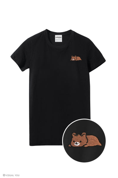 Relaxing Grizzly Bear Embroidered T-Shirt