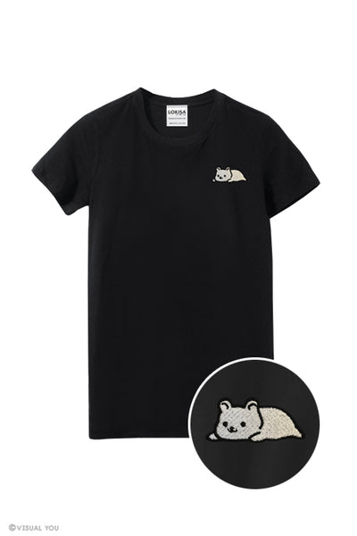 Relaxing Ice Bear Embroidered T-Shirt