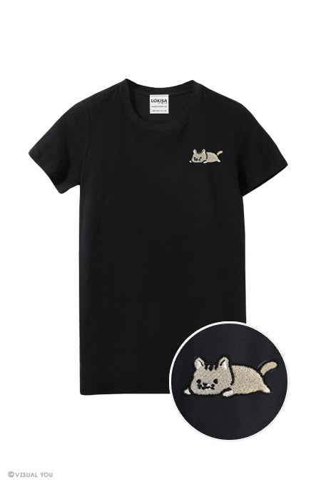 Relaxing Kitty Embroidered T-Shirt
