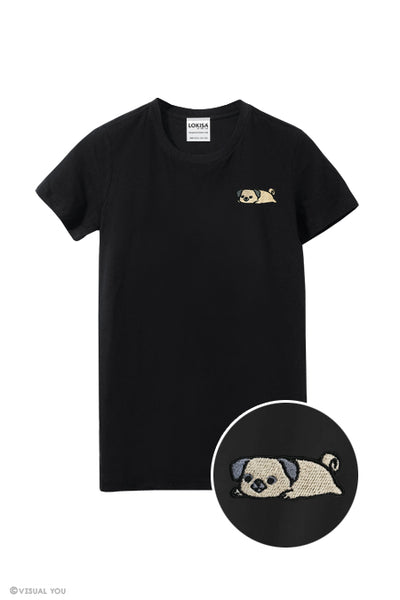 Relaxing Pug Embroidered T-Shirt
