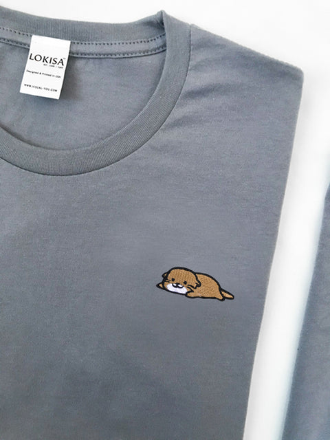 Relaxing Otter Embroidered T-Shirt