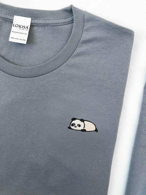 Relaxing Panda Embroidered T-Shirt