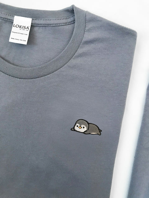 Relaxing Penguin Embroidered T-Shirt