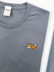 Relaxing Shiba Inu Embroidered T-Shirt (more colors)