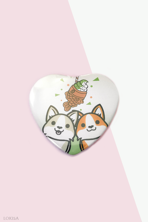 Taiyaki Ice Cream Fish Cake Corgis Heart Button - Green