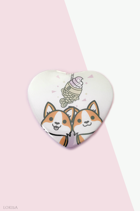 Taiyaki Ice Cream Fish Cake Corgis Heart Button - Pink