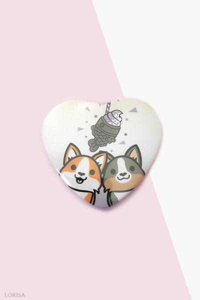 Taiyaki Ice Cream Fish Cake Corgis Heart Button - Purple