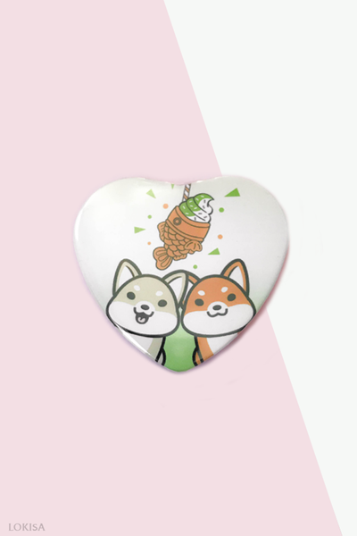 Taiyaki Ice Cream Fish Cake Shiba Inus Heart Button - Green