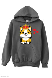 Corgi Queen in Love Hoodie