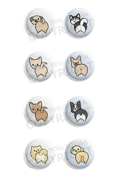 Pug, Husky, Chihuahua, French Bulldog, Boston Terrier, Pomeranian, Labrador Butt Button