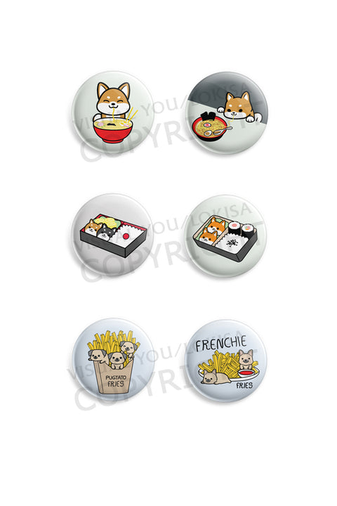 Shiba Inu, Pug, French Bulldog Foodie Love Button