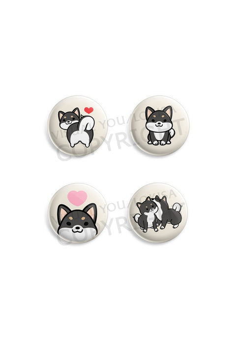 Red, Black, White Shiba Inu Button