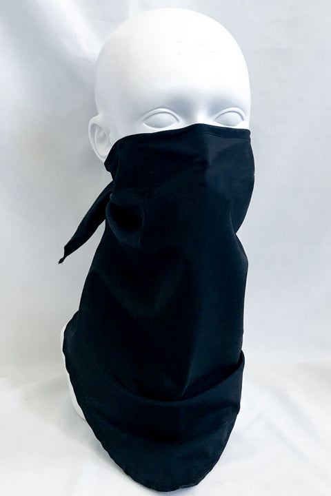 Solid Black Fabric Bandana Mask