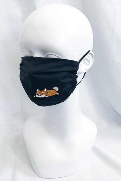 Embroidered Shiba Face Mask