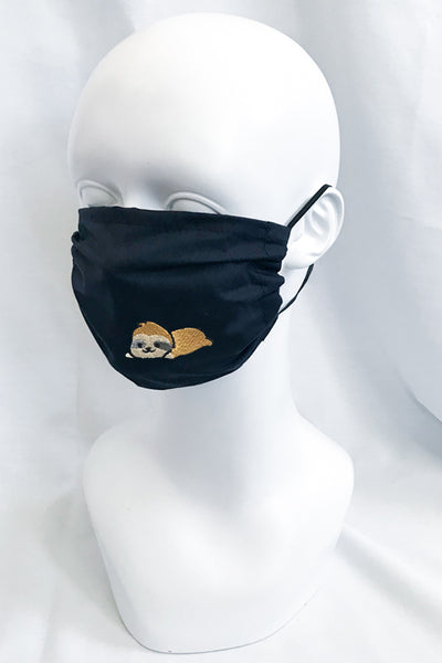 Embroidered Sloth Face Mask