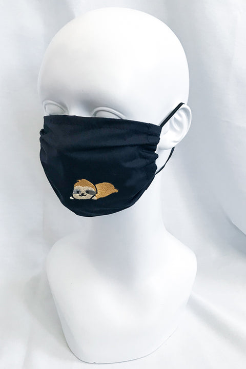 Embroidered Face Mask (black) (more animals)