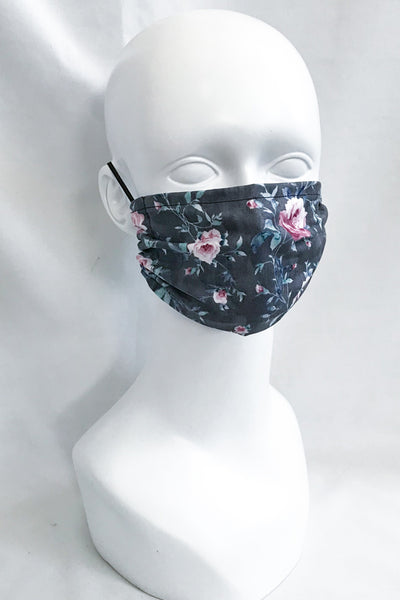 Burgundy Rose Flower on Gray/Black Cotton Fabric Face Mask