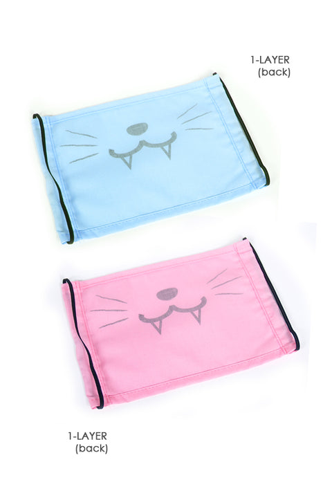 Cute Kitty Fashion Face Mask (with Fangs) - Mint or Light Blue