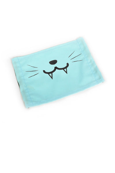 Cute Kitty Face Mask (with Fangs) - Mint or Light Blue