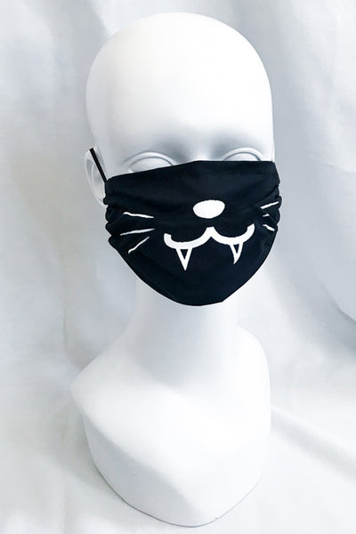 Cute Kitty Face Mask (with Fangs) (more colors)