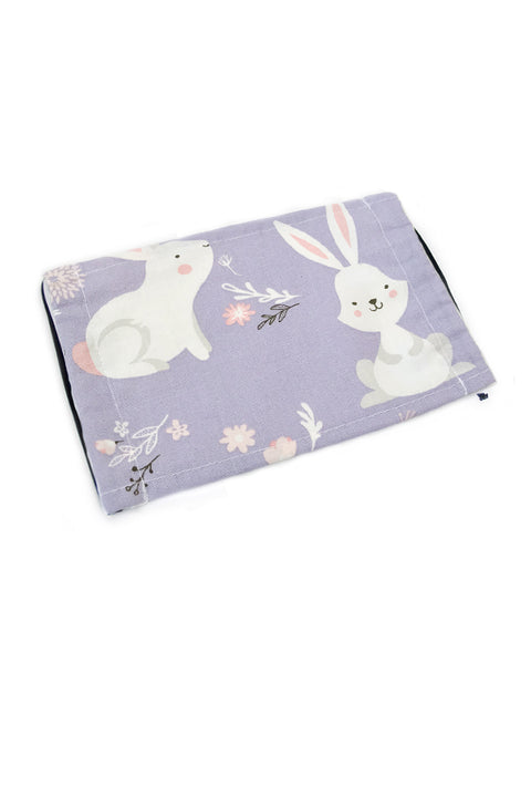 Adorable White Bunnies Purple Cotton Fabric Face Mask