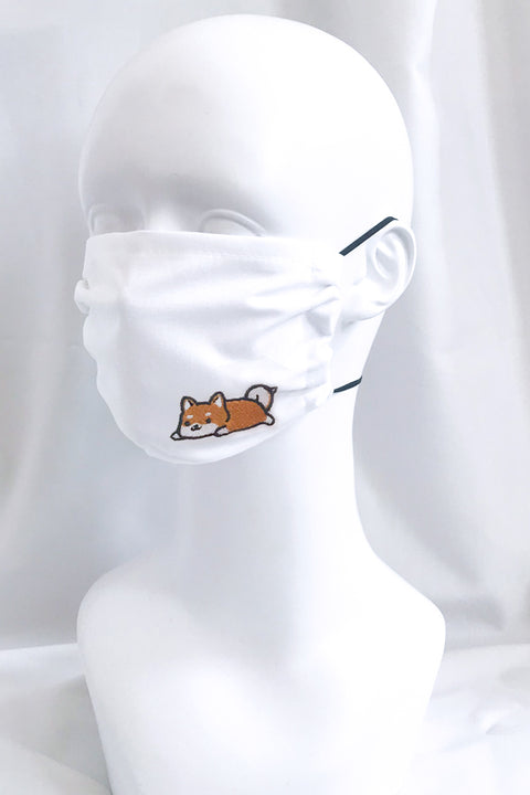 Embroidered Face Mask (white) (more animals)