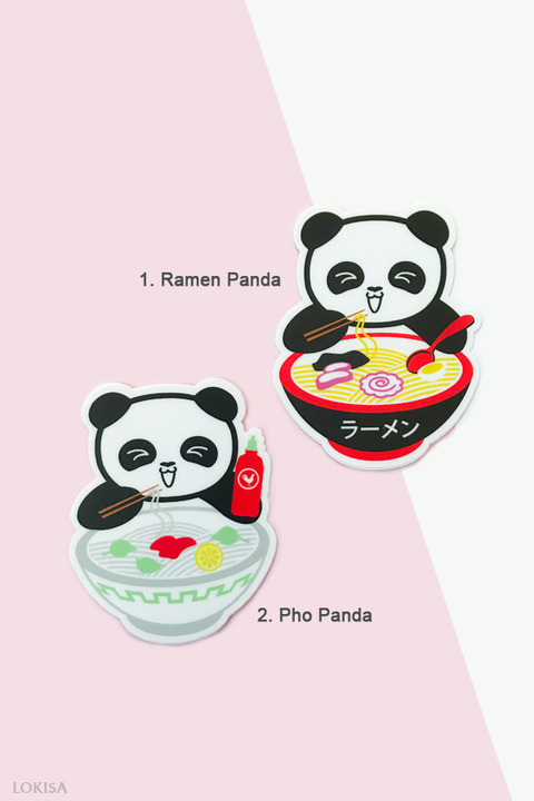 Ramen Panda or Pho Panda Vinyl Sticker