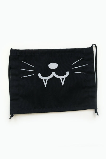 Cute Kitty Face Mask 2-layer (with Fangs) (black) - 2ND CHANCE